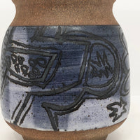 Mid-Century Hand-thrown Pottery Vase with Fantastic Expressionistic Sgraffito