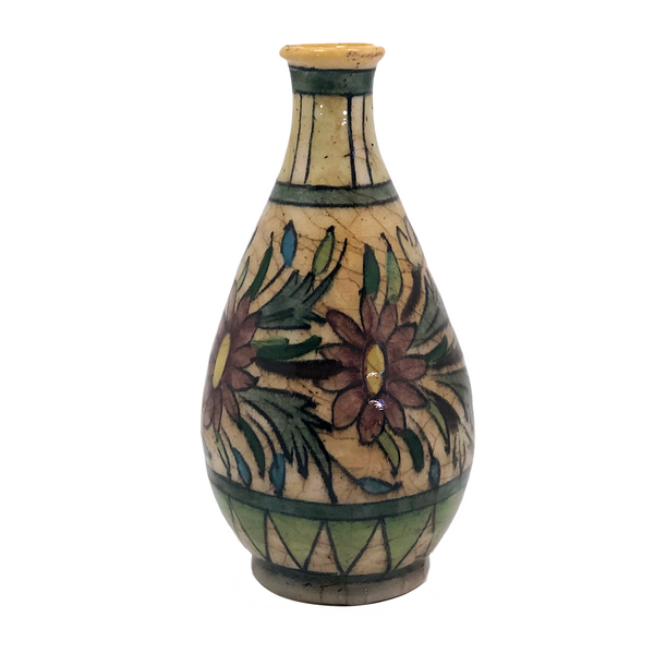 Persian Qajar Antique Pottery Vase with Flowers and Banded Patterns