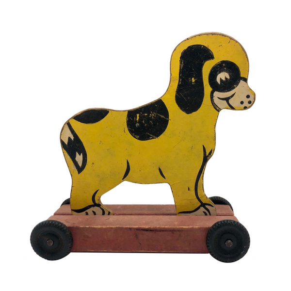 Cheerful Yellow and Black Dog Pull Toy