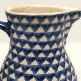 Blue and White Hand-painted Antique German Stoneware Milk Pitcher