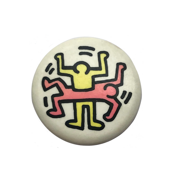 "Keith Haring ""Two Figures"" Original Vintage Pinback Button, Mid 1980s"