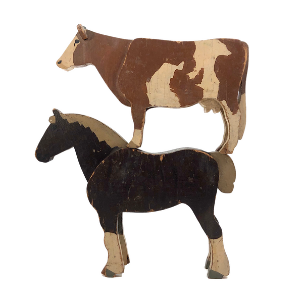 Old Painted Wooden Horse and Cow!