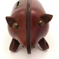 Leather Mid-Century Piggy Bank with Lock and Keys