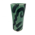 Green on Green Post-Modern Pottery Tumbler or Vase by Andrew Martin