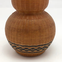 Mid-Century Chinese Finely Woven Wicker Over Porcelain Budvase