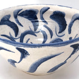 Pretty Mid-Size Serving Bowl, White with Inky Blue Decoration