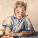 Dreamy Reclining Boy Watercolor Painting by Mary Rand