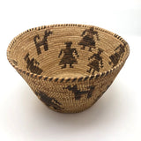 Antique Papago / Pima Figurative Basket with Women and Dogs