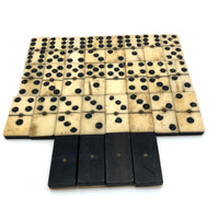 Bone and Ebony Dominoes with Brass Spinners - Complete Double Six Set