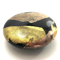 Stunning Randy Strong 1988 Black Art Glass Paperweight with Gold and Silver Foil