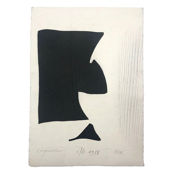 French Abstract Modern Signed Print in the Manner of Ubac and Soulages, 1978