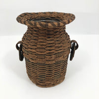 Antique Penobscot Splint Ash and Sweetgrass Handled Basket Vase