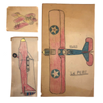 Three Old Kid Drawn Pencil and Crayon Airplanes