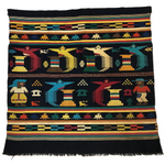 Guatemalan Finely Woven Cotton Textile Wall Hanging with Birds and People