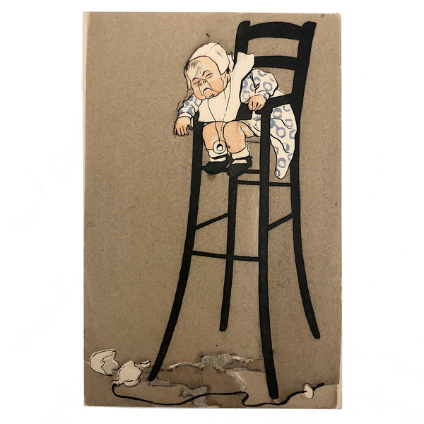 Crying Baby In High Chair Antique French Postcard