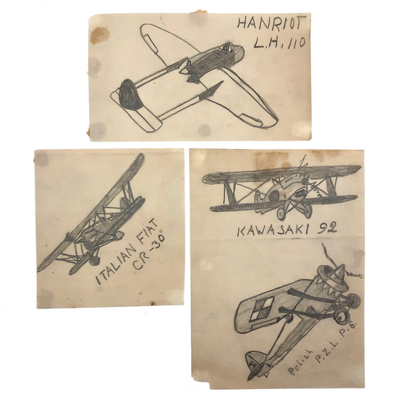Four Small Pencil Drawn Airplanes