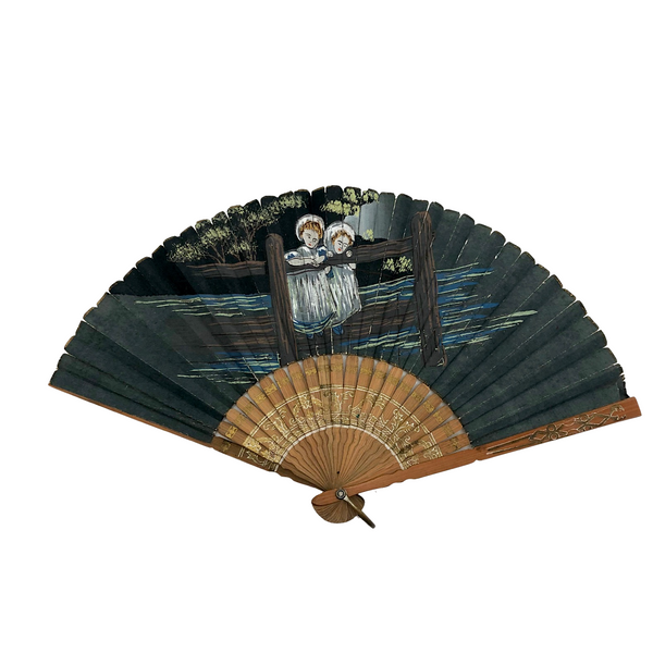 Hand-painted Folding Fan with Two Asian Children on Bridge