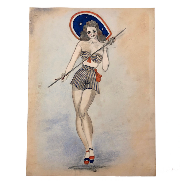 Red White and Blue Pin Up Girl 1940s Drawing Harriet Claire Mansfield