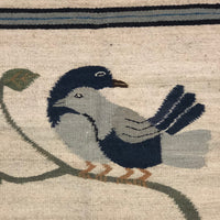 South American Woven Wool Kilim Rug with Two Birds on Branch