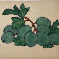 Hand-Painted Watercolor Postcard Of Grapes (or Olives?)