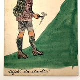 Austrian Hiker at Ursulaberg Stamp Collage and Watercolor Postcard