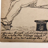 Hand-drawn Pen and Ink Sleeping Clerk Antique British Postcard