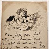 Hand-drawn Pen and Ink 'I so hope you feel better' 1906 Postcard