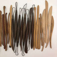 Lot of Wooden Clay Sculpting Tools, Mostly Japanese