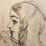 Early Victorian Watercolor and Pencil Sketches of Girls with Ringlets