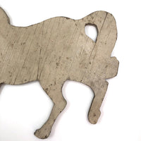 Wooden Horse Cutout with Chippy White Paint