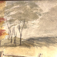 Painterly Old Watercolor Landscape with Gate and  Wispy Trees