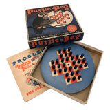 Lubbers & Bell 1929 Puzzle Peg Game with Problem Guide