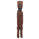 Tall Bearded Man in Coat Old Canadian Folk Art Carving