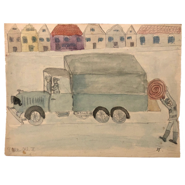 Arthur Tilo Alt Childhood Watercolor Drawing of Firetruck, Germany, WWII era