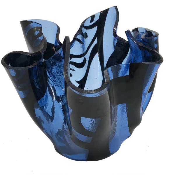 Blue and Black Art Glass Handkerchief Vase