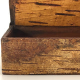 Pressed Birch Bark Antique Snuff Box with Child and Chickens