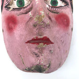 Mid-Century Carved and Painted Mexican Festival Mask with Rattle Headpiece