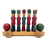 Italian Soldier Nine Pin Skittles Set on Rolling Cart, Made for B Altman