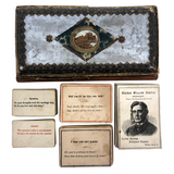 Victorian Papered Box with 19th Century Courting Cards and Authors Game
