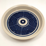 Handthrown Pottery Baking / Serving Dish with Blue and White Graphic Design