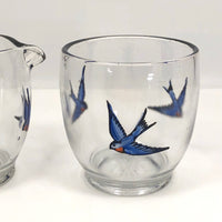 Glass Creamer and Sugar Bowl with Hand-painted Bluebirds