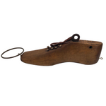 Wooden Shoe Form with Hooks and Laces