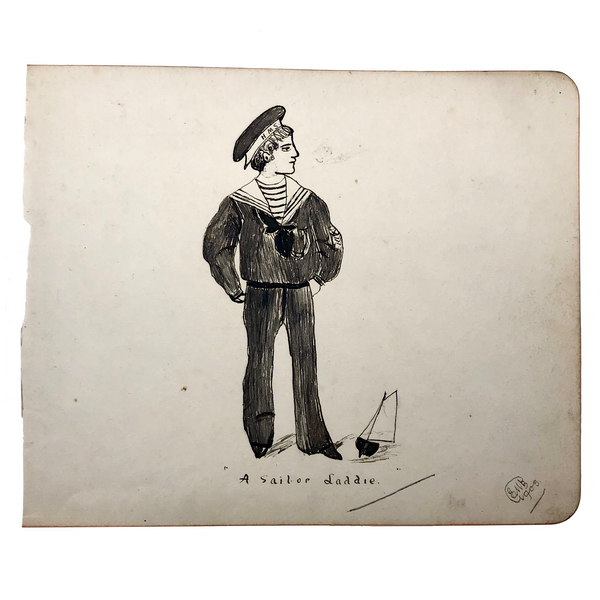Sailor Laddie 1903 Pen and Ink Drawing