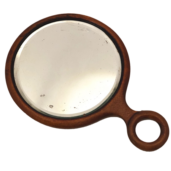 Antique Wooden Handled Bevelled Glass Hand Mirror