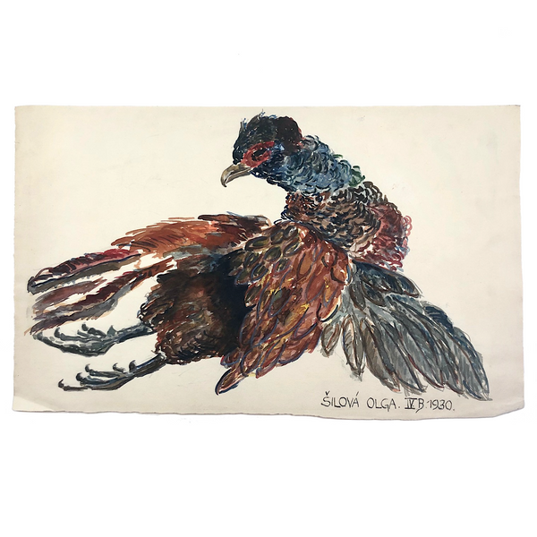 Expressionistic 1930 Watercolor of Pheasant