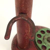 Red and Green Tin and Wood Vintage Toy Candlestick Telephone