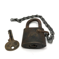 WB Old Heavy Brass Padlock on Chain, with Key