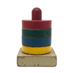 Primary Colors Old Wooden Stacking Rings Toy
