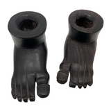 Hand-carved Pair of Wooden Foot-Shaped Candle Holders