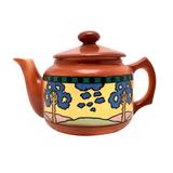Cheerful Orange Art Deco Czech Teapot with Landscape Decoration